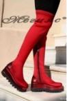 1930 Дамски чизми на платформа червени от текстил