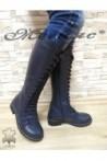 602-301 Дамски ботуши сини от естествена кожа