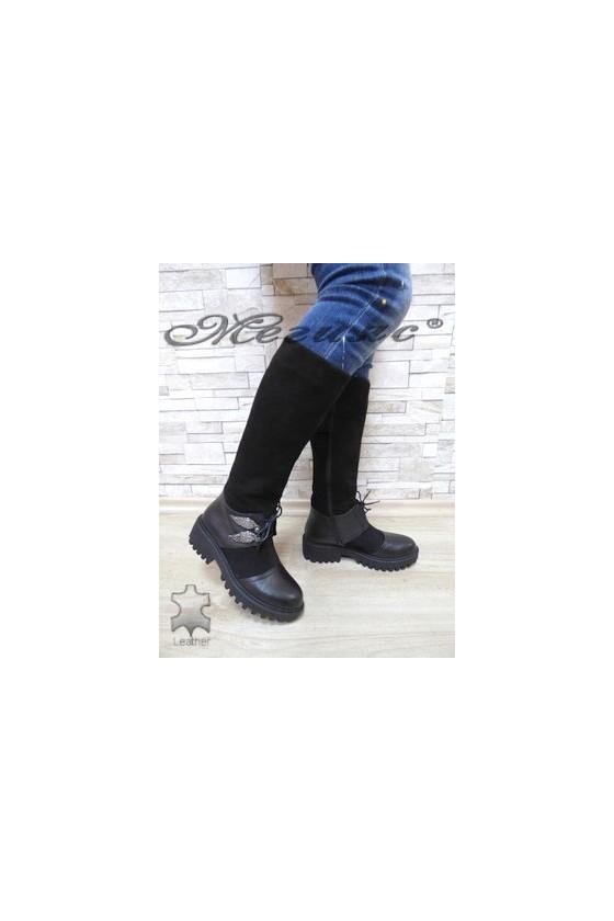 613-315 Дамски ботуши черни естествена кожа с велур