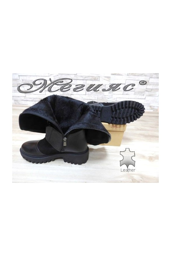 613-315 Women boots black leather