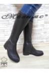2009 XXL Дамски ботуши черни от естествена кожа гигант