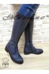 2009 XXL Дамски ботуши сини от естествена кожа гигант