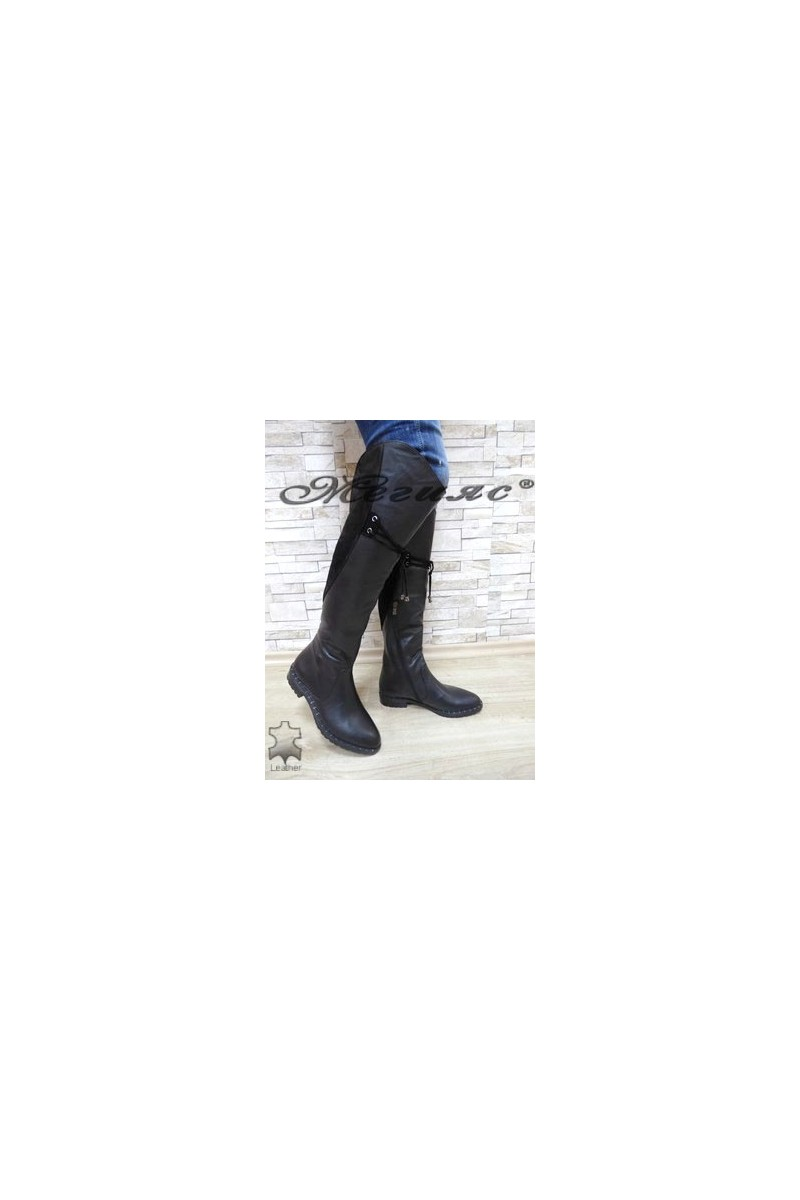 623-01-07 Women long boots black leather