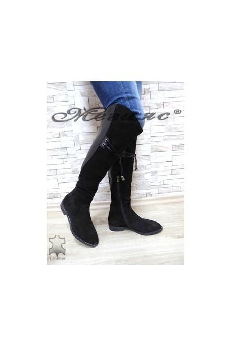623-07-01 Women long boots black suede