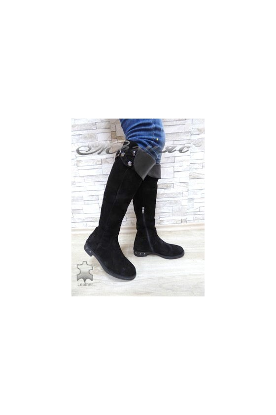 169-99 Women long boots black suede