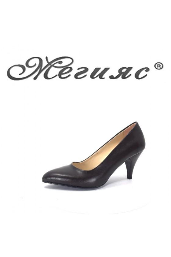 117 Lady elegant shoes brown pu