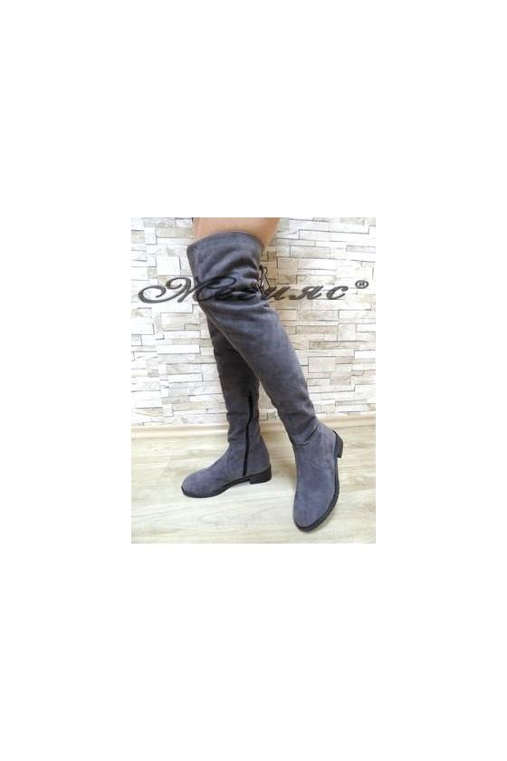 17201 Дамски ботуши тип чизми сиви от велур