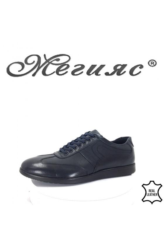 Мъжки обувки тъмно сини от естествена кожа