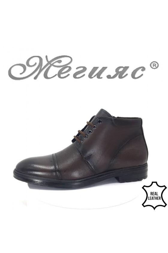 021 Men's boots dark brown leather