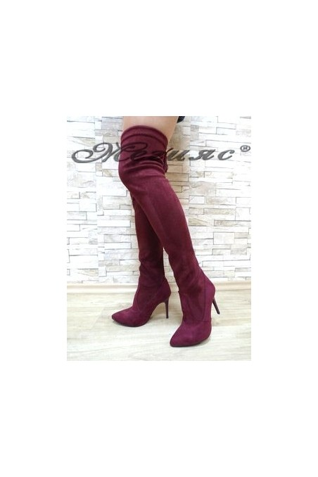 1006 Lady long boots wine suede