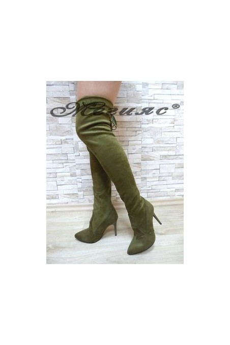 1006 Lady long boots green suede