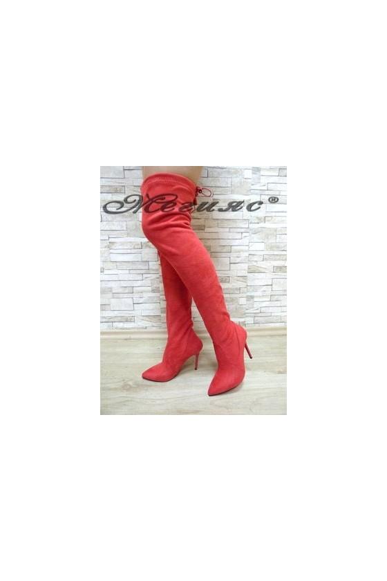 1006 Дамски ботуши червени тип чизми от велур