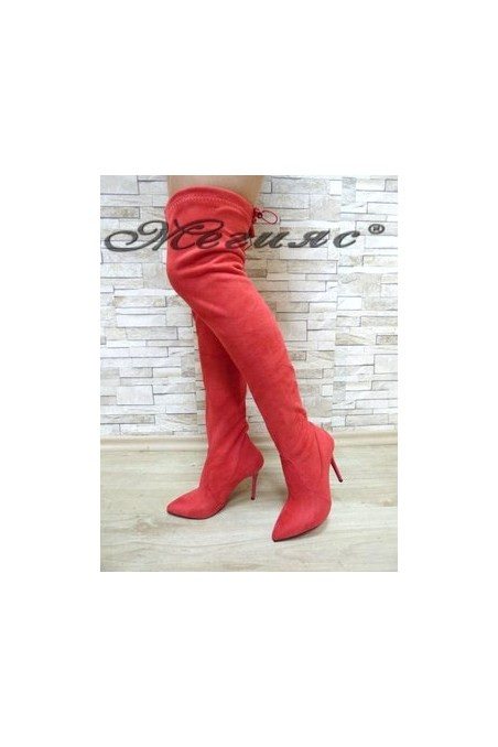 1006 Lady long boots red suede