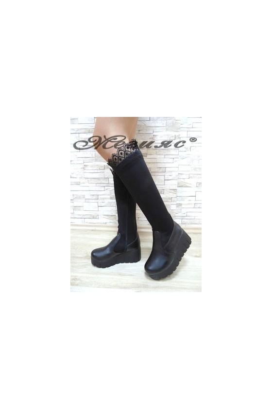 4244 Дамски ботуши на платформа черни от текстил и еко кожа