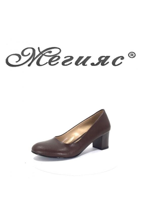 903 Дамски обувки тъмно кафяви от еко кожа