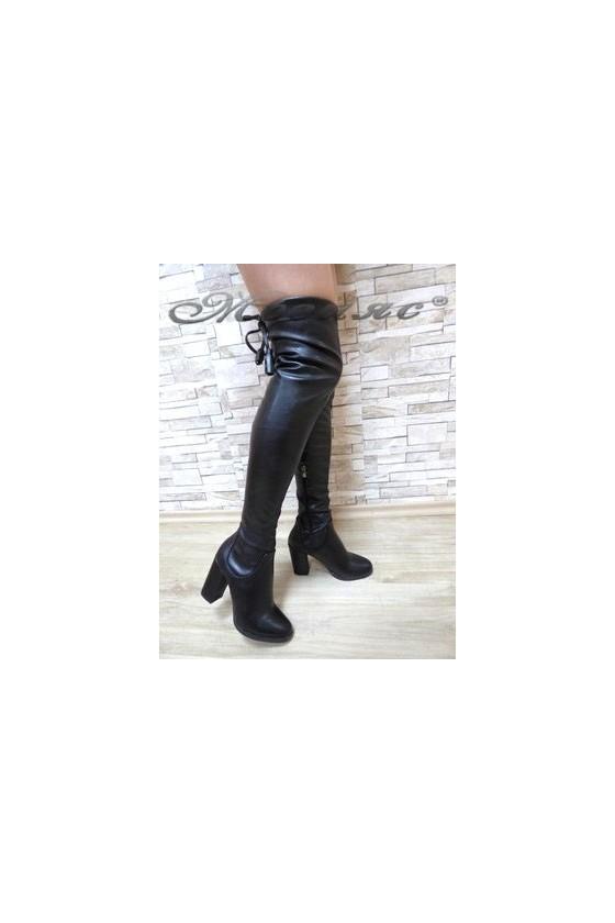 047 Lady long boots black pu