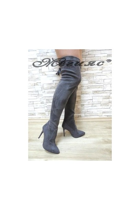 1006 Lady long boots grey suede