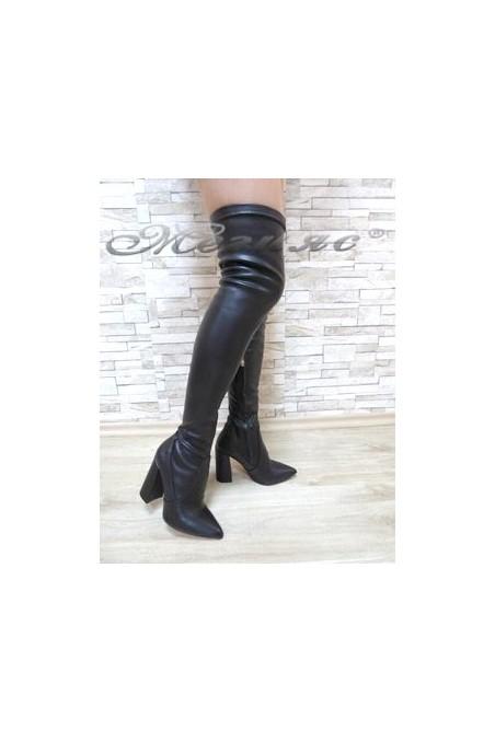 3322 Lady long boots black pu