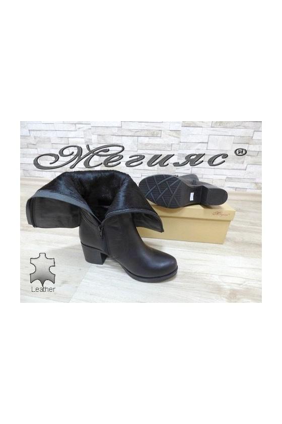 909-423 Дамски ботуши черни от естествена кожа