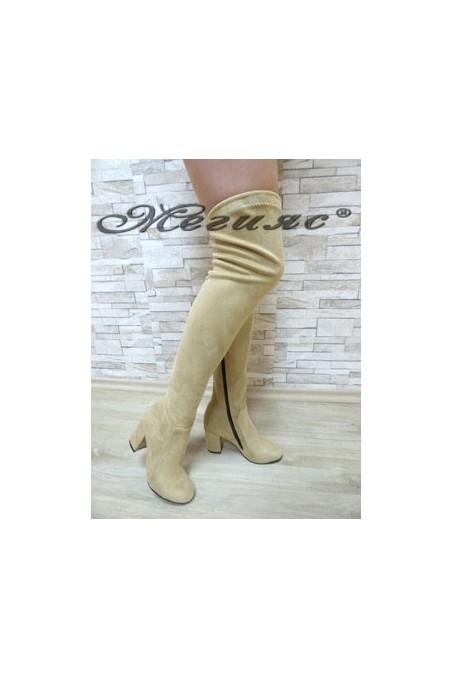 067 Women long boots light beige suede