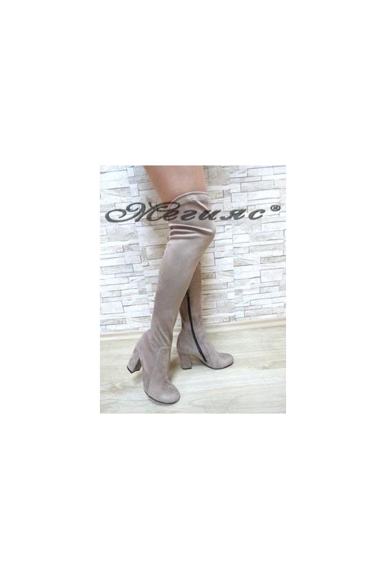 067 Women long boots dark beige suede