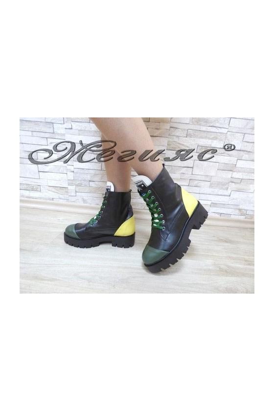 001 Дамски боти черни със зелено  от еко кожа
