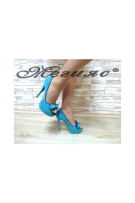 13-3363 Дамски елегантни обувки сини от велур