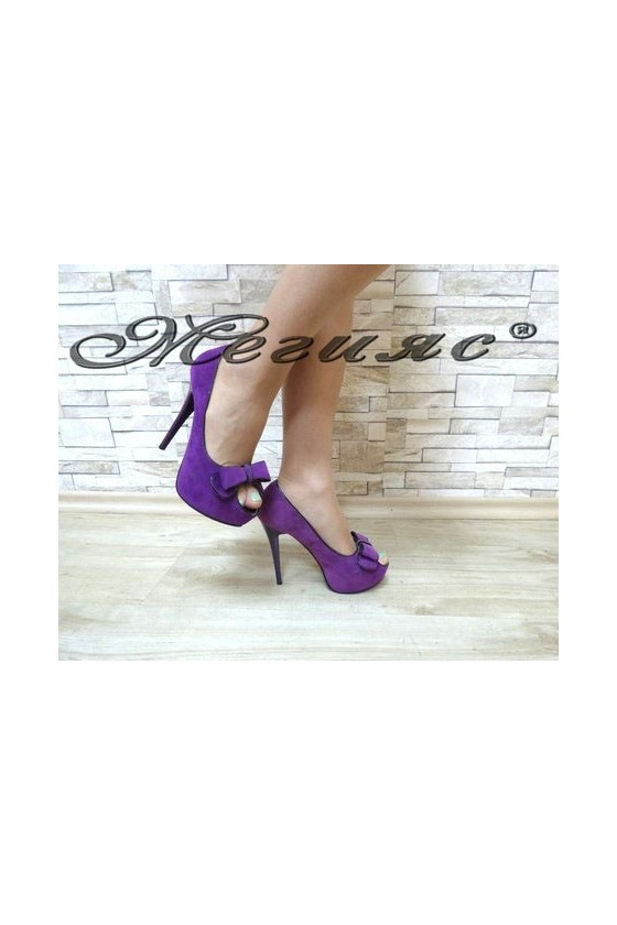 13-3363 Дамски елегантни обувки лилави от велур