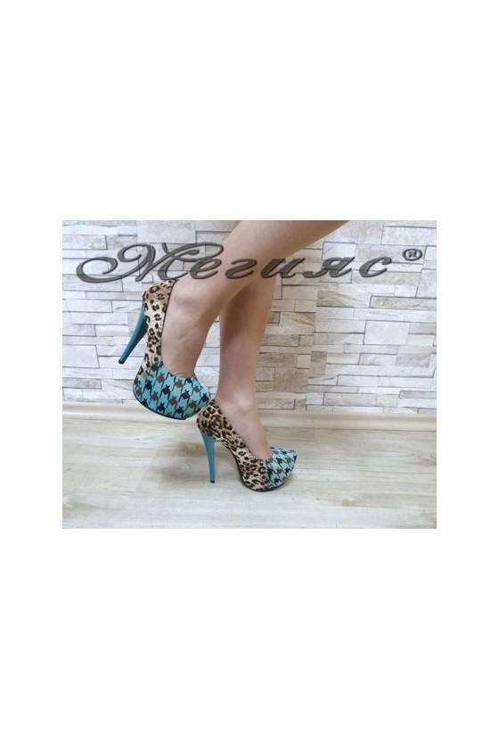 13-3365 Дамски елегантни обувки сини от текстил