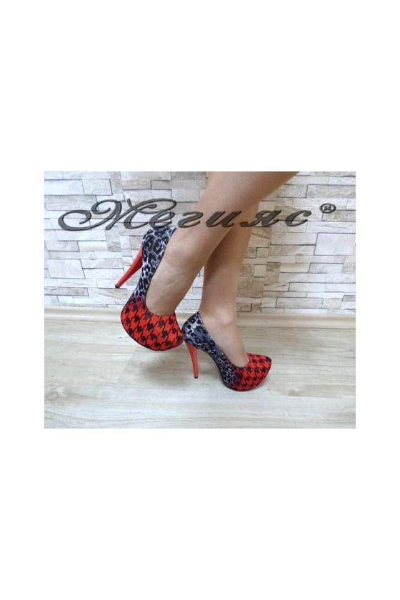 13-3365 Дамски елегантни обувки червени от текстил