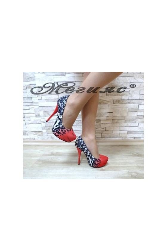 13-3364 Дамски елегантни обувки червени от текстил