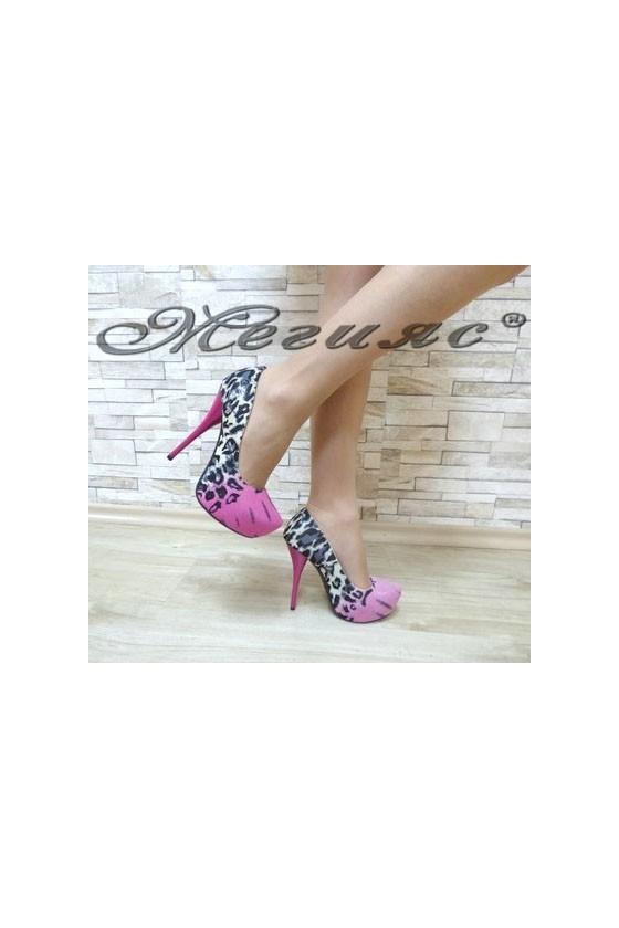 13-3364 Дамски елегантни обувки розови от текстил