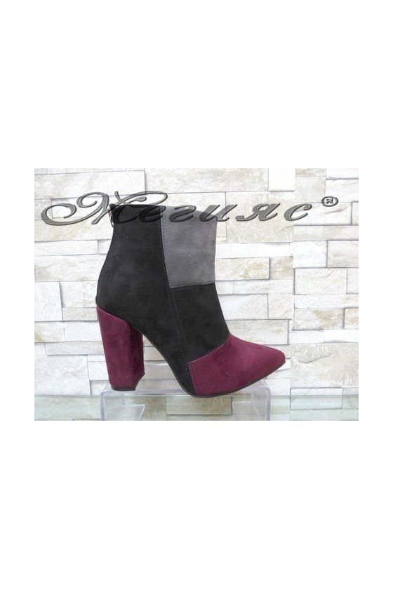 4462 Women elegant boots grey/black/red suede