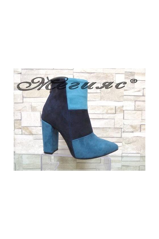 4462 Дамски елегантни боти тъмно синьо и светло синьо от велур