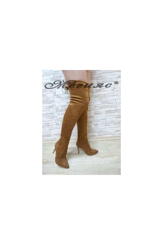 1006 Дамски ботуши цвят таба тип чизми от велур