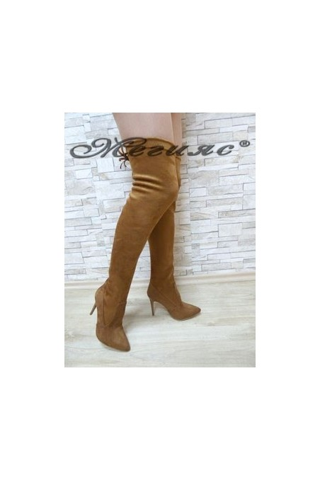 1006 Women long boots brown suede
