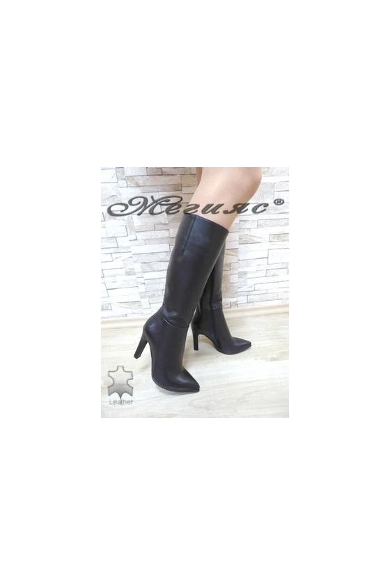 1902-01 Дамски елегантни ботуши черни от естествена кожа