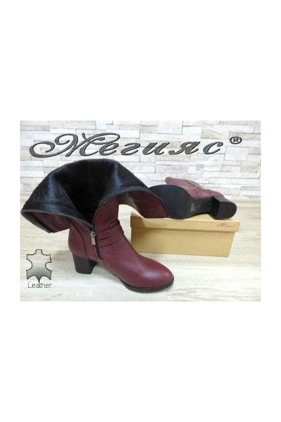 402-3 Дамски елегантни ботуши цвят бордо от естествена кожа