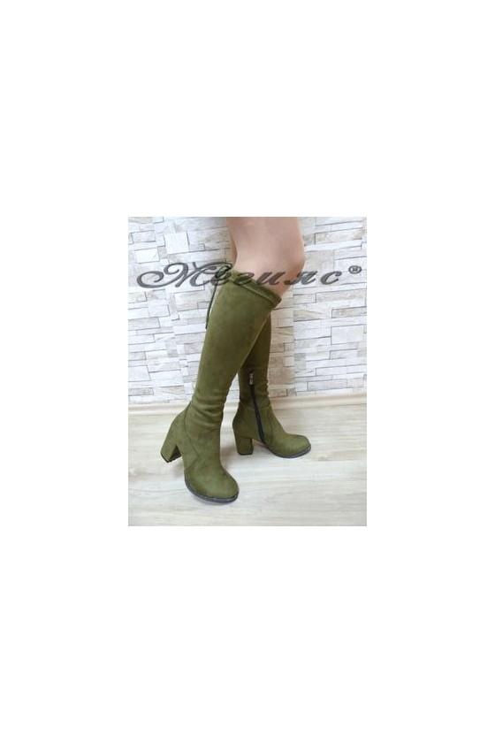 233-K Дамски ботуши зелени от еко велур