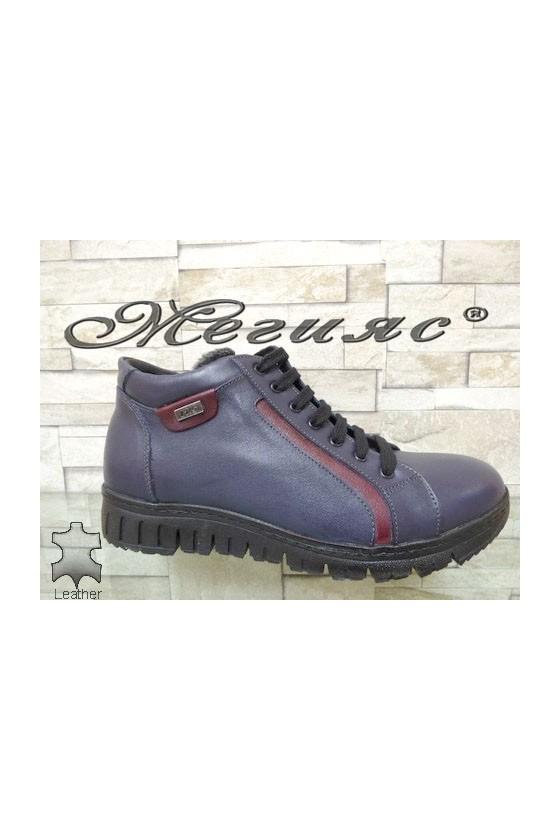 47-22 Men's sport boots blue leather