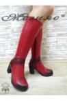 440 Дамски ботуши червени на широк ток от естествена кожа