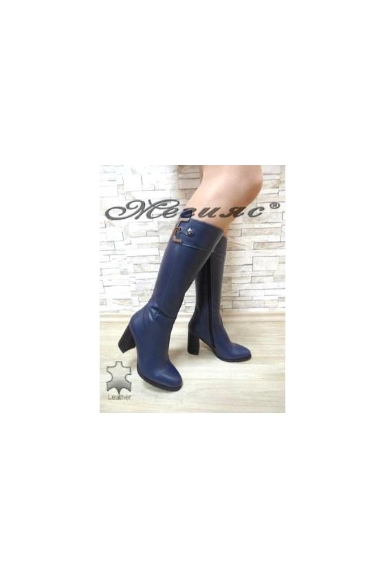 2111/1 Дамски елегантни ботуши сини от естествена кожа