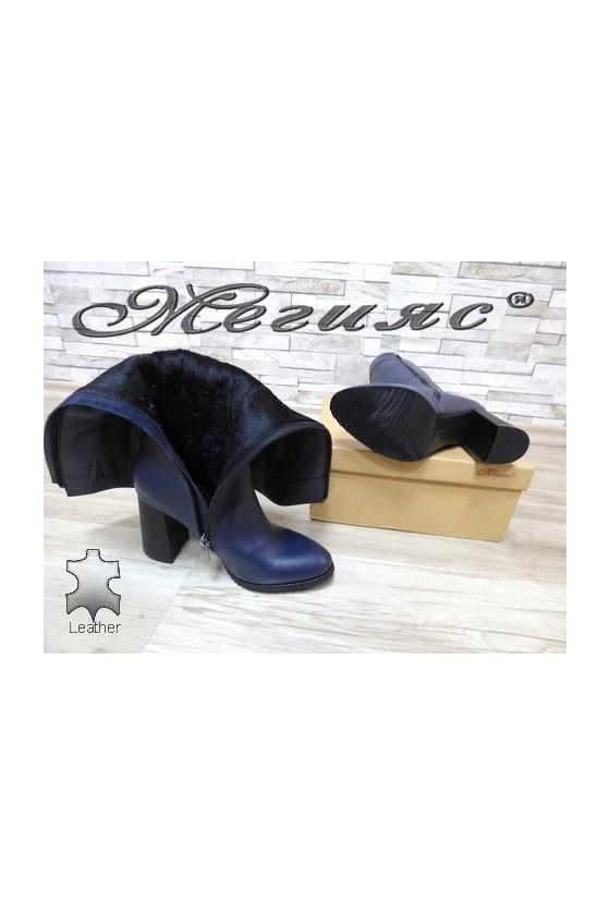 2111/1 Women elegant boots blue leather