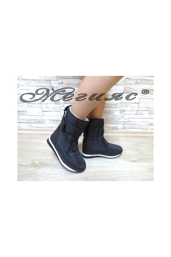 19-1310 Lady warm boots black pu/textiles