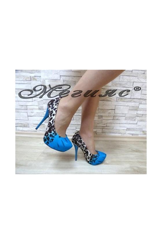 13-3364 Дамски елегантни обувки сини от текстил