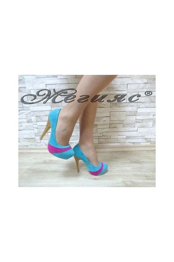 MAGGIE 13-3361 Дамски елегантни обувки сини от велур