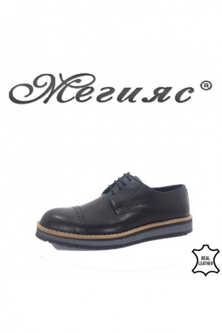 554 Мъжки обувки Fenomen черни от естествена кожа