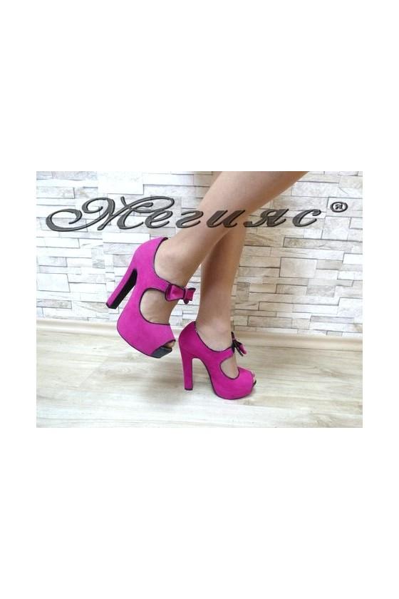 MAGGIE 13-3362 Дамски елегантни обувки циклама от велур
