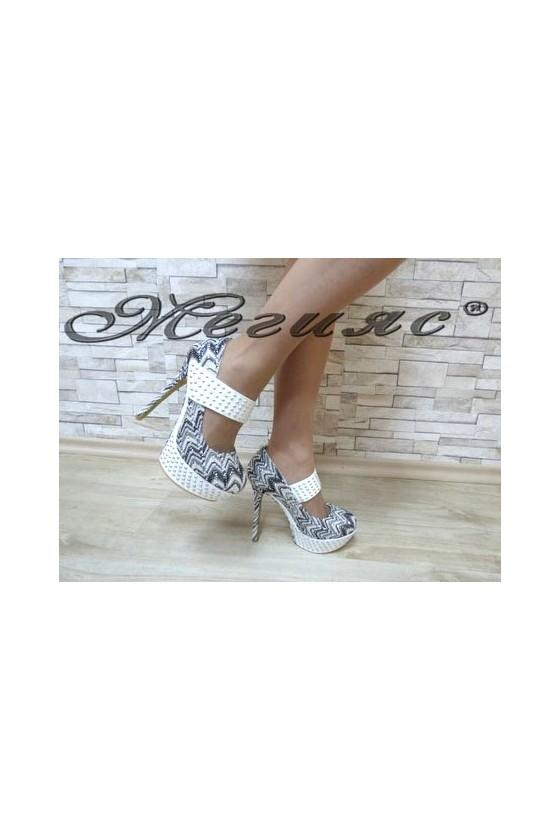 MAGGIE 13-3379 Дамски елегантни обувки бели със сребристо на висок ток
