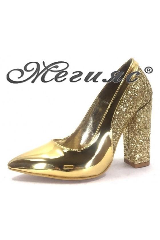 00543 Дамски обувки тъмно злато елегантни на висок ток